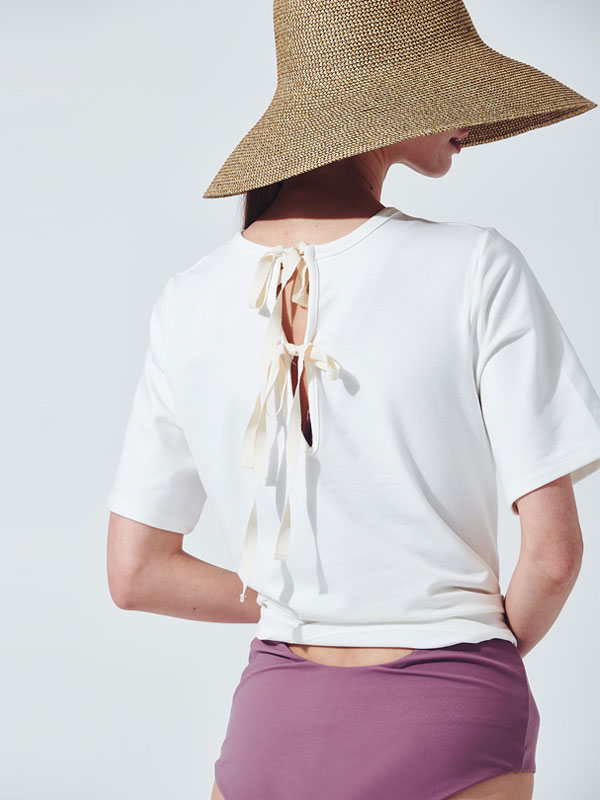 [30%SALE]Ribbon tie t-shirt_ivory