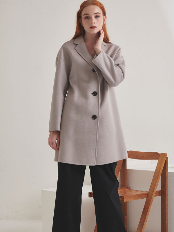 Handmade three button half coat_3color