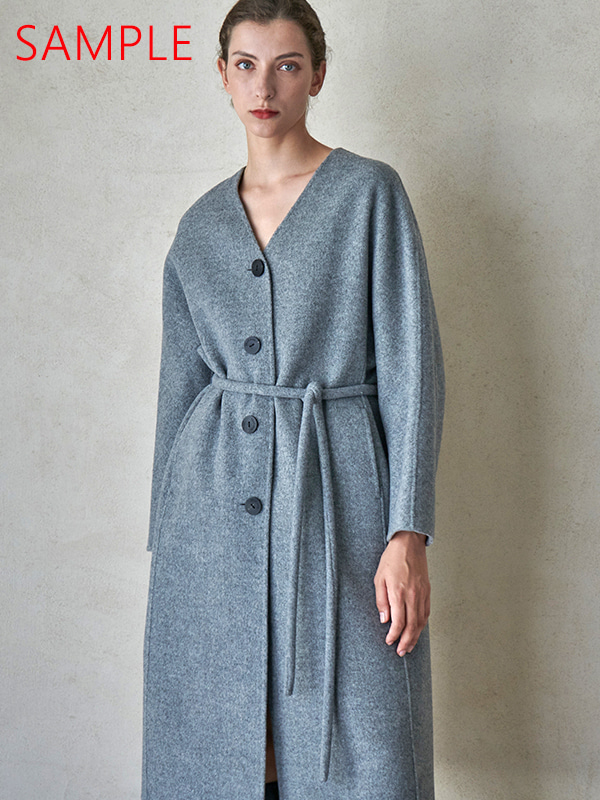 [SAMPLE]PLUMP BELT COAT_MELANGE GRAY