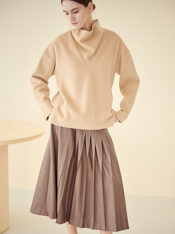 [SAMPLE] UNBALANCE PLEATS SKIRT_MOCHA BEIGE