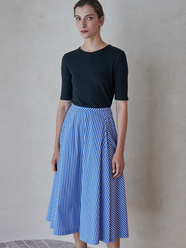FLARE SKIRT_DEEP BLUE STRIPE