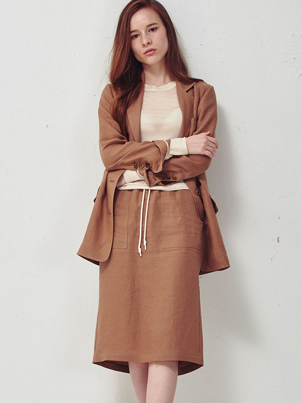 [30%SALE]String linen skirt_brown