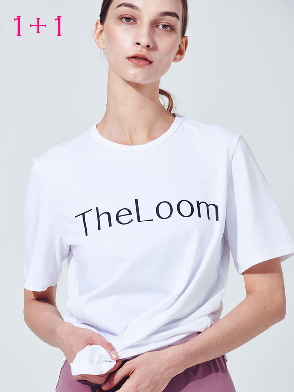 [1+1]Theloom logo t-shirt + Stripe basic t-shirt