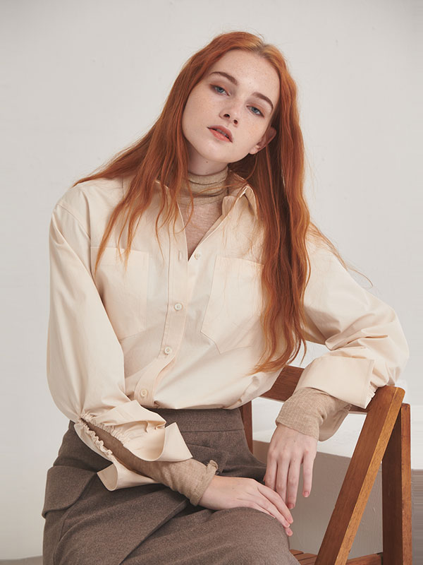 Mannish cotton shirt_ivory