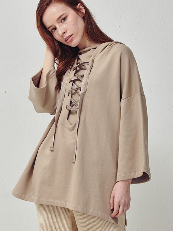 Oversize lace up hoody_beige
