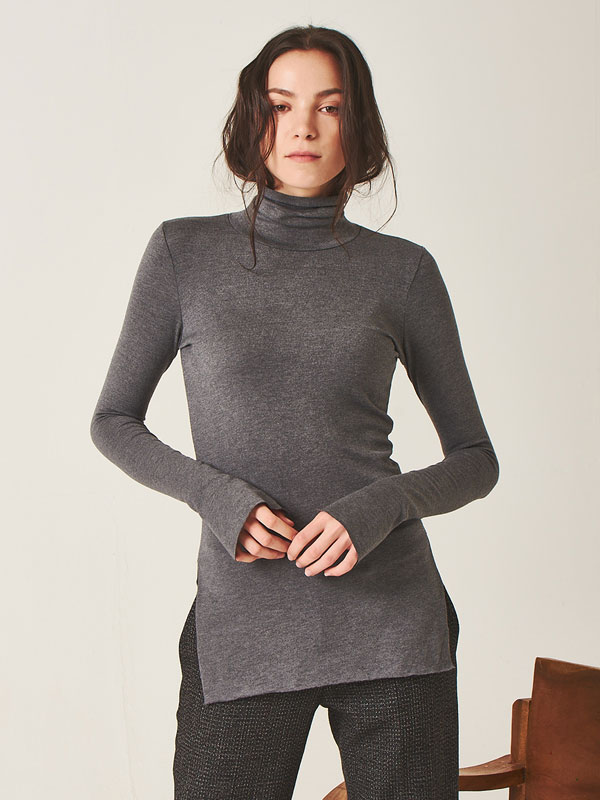 [50%SALE]Comfy turtleneck t-shirt_gray