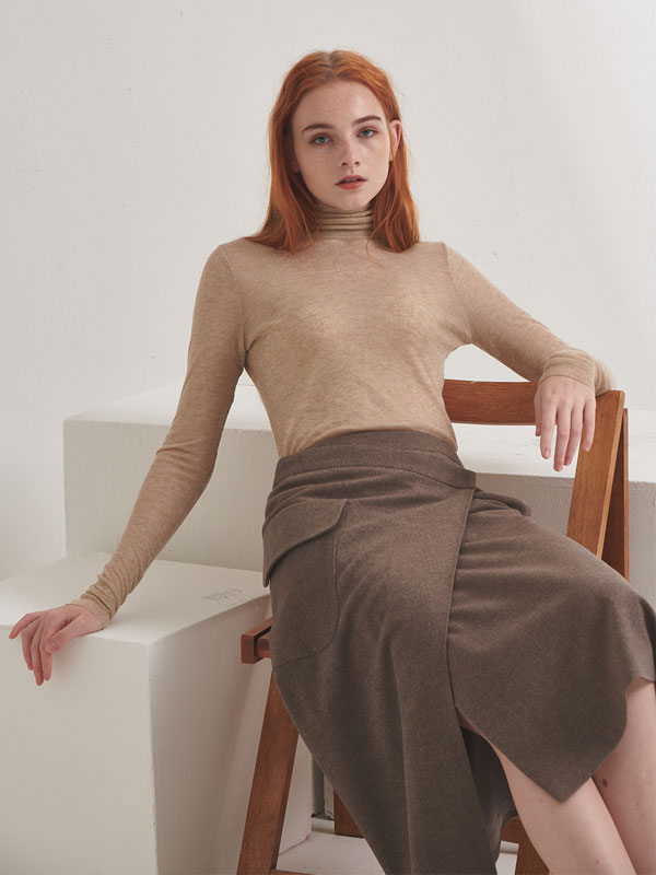 [30%SALE]Wool wrap skirt_light brown