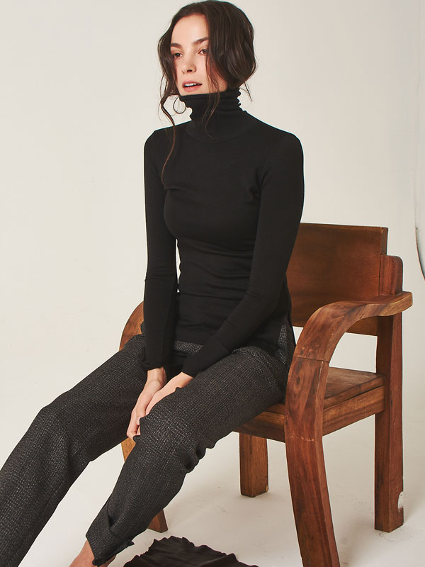[50%SALE]Comfy turtleneck t-shirt_black