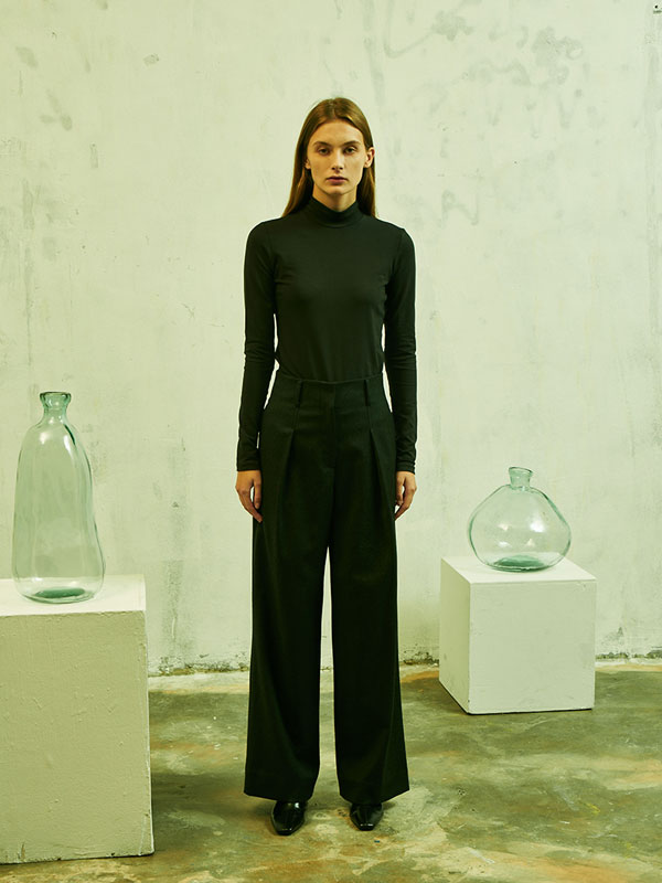 Wool high waist wide pants_charcoal