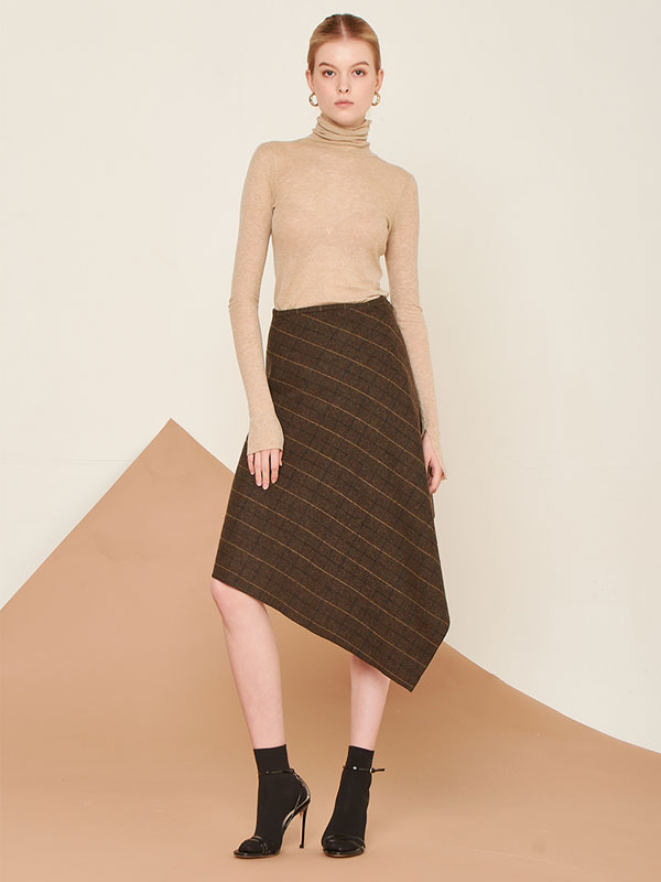 [80%SALE]Wool handkerchief skirt_khaki check