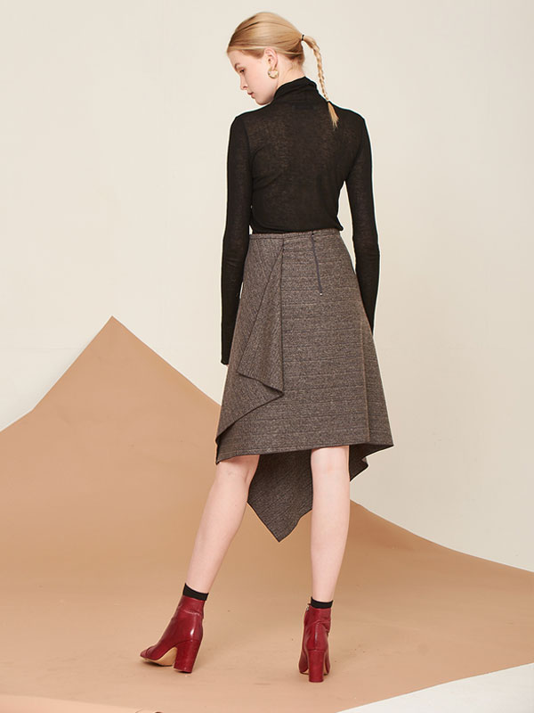 [80%SALE]Wool handkerchief skirt_brown herringbone