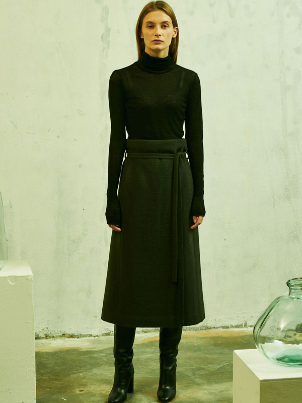 High waist belted wool skirt_2color