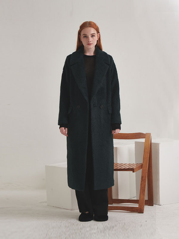 Wool blended fur double coat_dark green