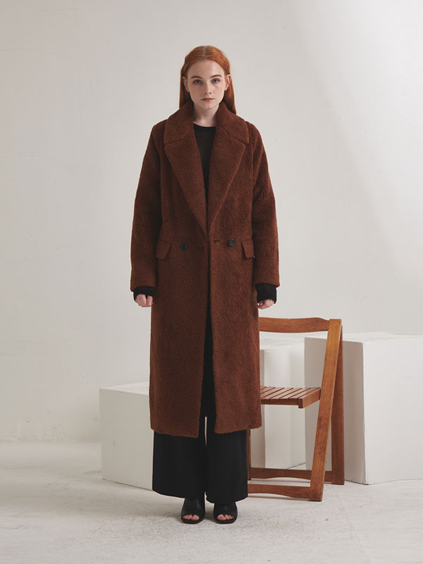 Wool blended fur double coat_brown