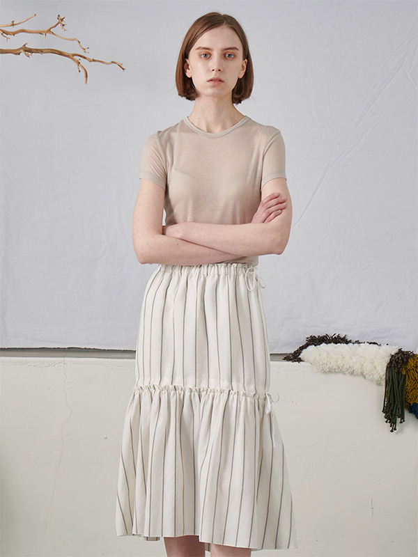 STRING SHIRRING SKIRT_WHITE