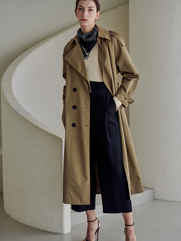 DOUBLE LAPEL TRENCH COAT_OLIVE DRAB