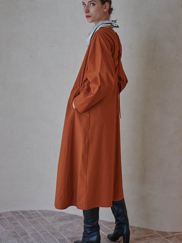 BACK SHIRRING ONEPIECE_ORANGE BROWN