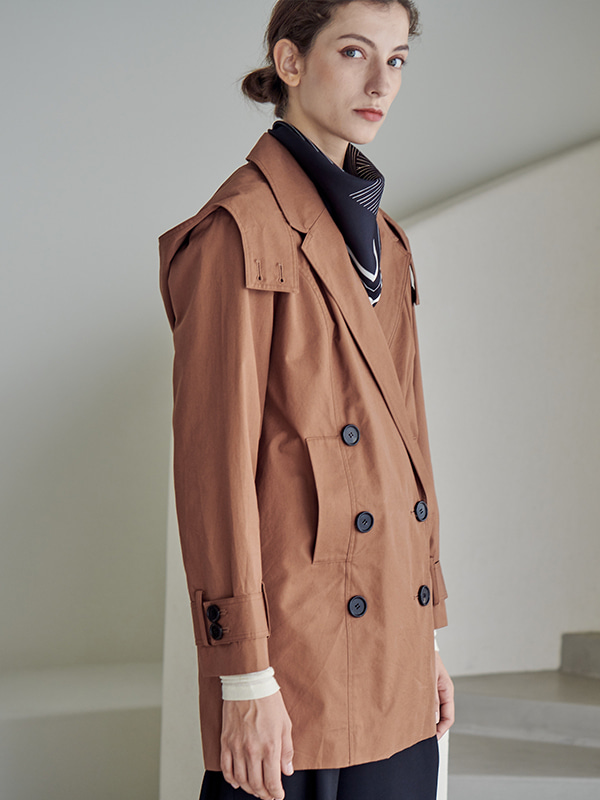 COTTON TRENCH JACKET_BRICK