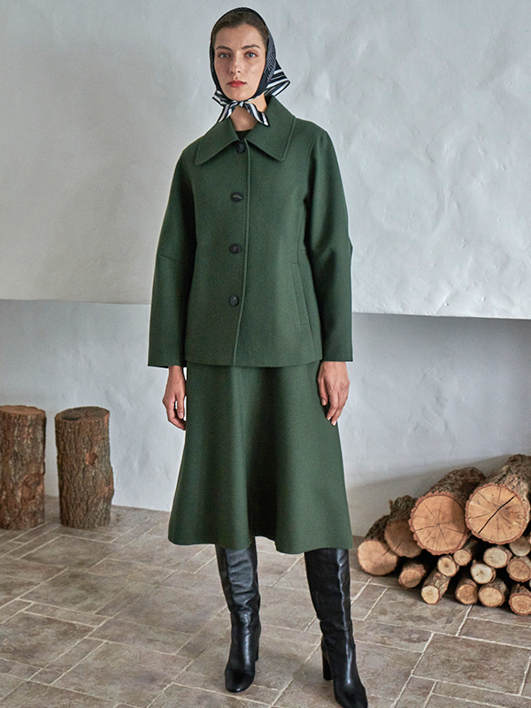 WIDE COLLAR JACKET_FOREST GREEN