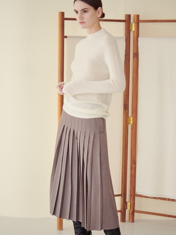 UNBALANCE PLEATS SKIRT_WOODY BROWN