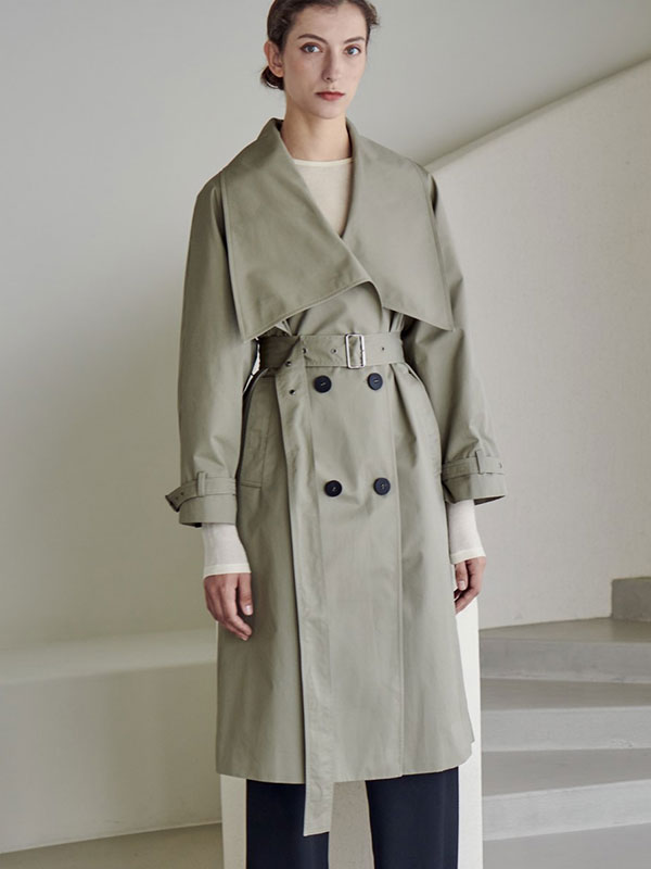 LOWNECK TRENCH COAT_KHAKI