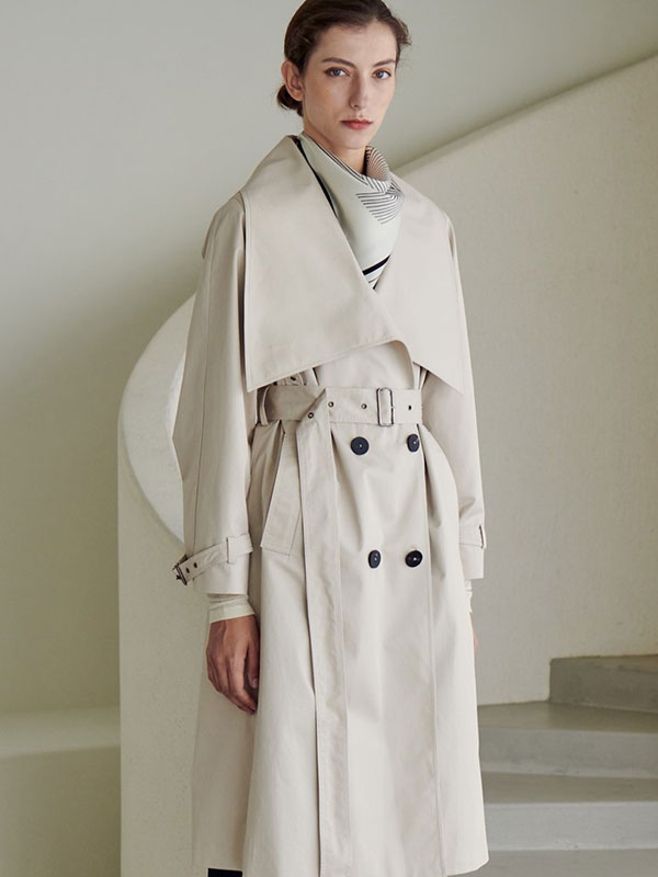 LOWNECK TRENCH COAT_IVORY