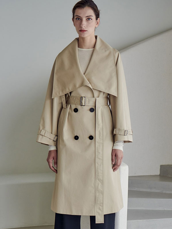 LOWNECK TRENCH COAT_LIGHT BEIGE