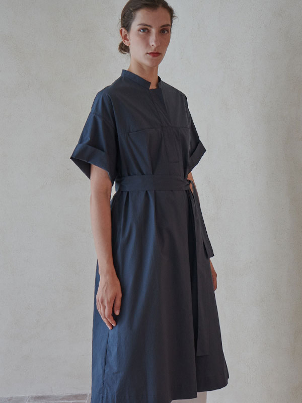 BELTED ONEPIECE_WASHED BLACK