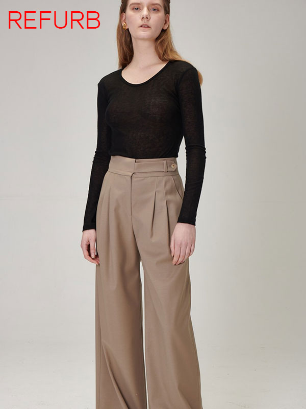 [REFURB]PLEATED WIDE LEG PANTS_KHAKI BEIGE