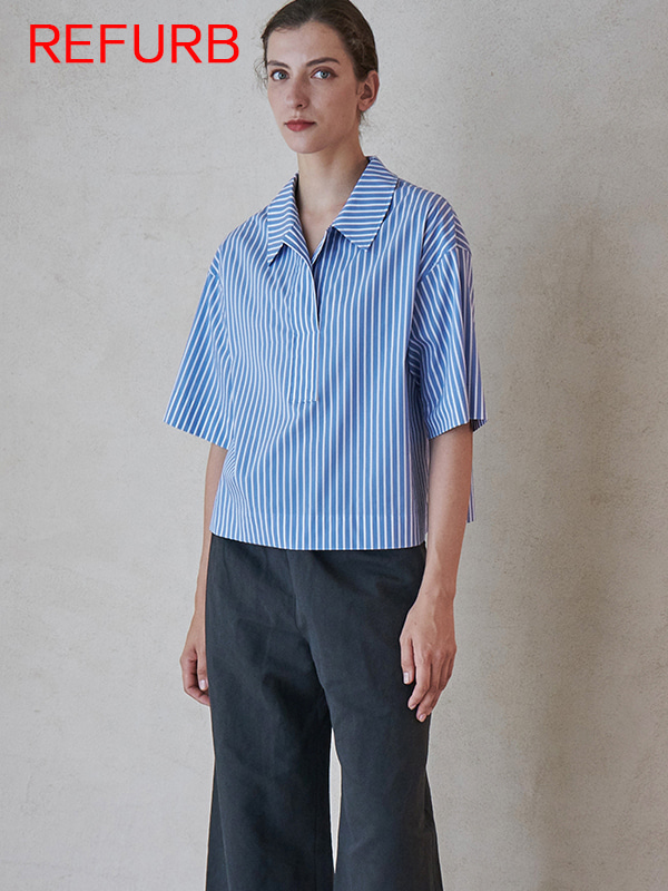 [REFURB]1/2 SLEEVE SHIRT_BLUE STRIPE