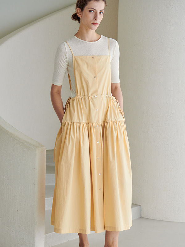 GATHER APRON ONEPIECE_BUTTER CREAM